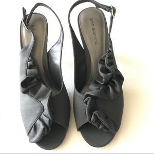 Ann Marino Evening Shoes Dark Gray Slingback